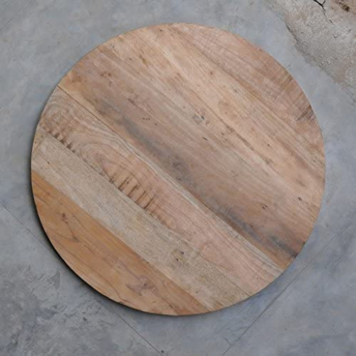 Antique Rustic Reclaimed Wood Round Table Top 36 x 36 x 1.5 Natural Wooden