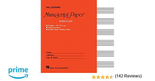 Wide Staff Manuscript Paper Red Cover Hal Leonard Corp