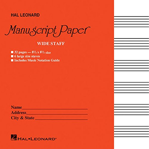 Sheet Music Staff Paper - Wide Staff Manuscript Paper (Red Cover)