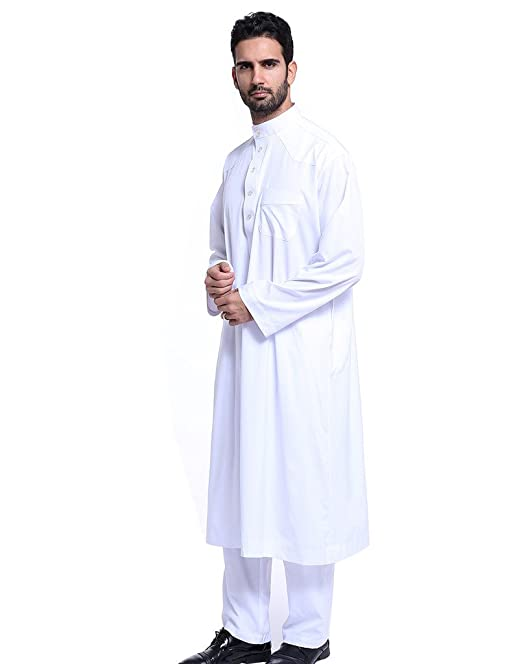 GladThink Hombres Thobe con Mangas largas Arab Muslim Wear Medio Corto