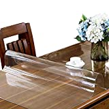 ETECHMART 24 x 48 Inches Clear PVC Table Cover Protector, 1.5mm Thick Plastic Rectangular Desk Pad, Waterproof Vinyl Table Top Protector for 4ft Coffee Table, Writing Desk