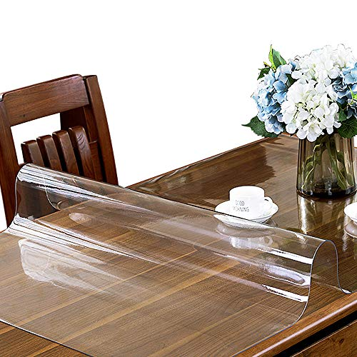 (ETECHMART 2.0mm Thick 42 x 60 Inches Clear PVC Table Top Protector for 5ft Table Wipeable Heat Resistant Waterproof Tablecloth Cover Rectangular Vinyl Desk Pad for Dining Room Table )