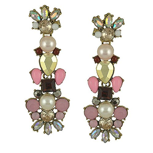 Fashion Earrings Statement Drop Stud Earrings with Crystal Resin Brass Post Pin Antique Bronze Color Plated Faceted with Rhinestone Flower, Imitation Pearl, Pink 439163 184