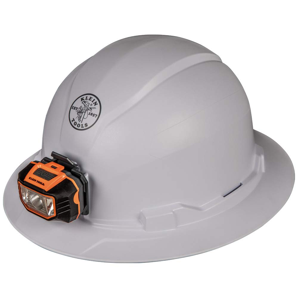 Klein Tools 60406 Hard Hat, Non-Vented Full Brim Style with Light, Padded, Self-Wicking Odor-Resistant Sweatband, Tested up to 20kV, White