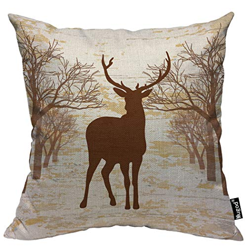 (Mugod Deer Pillow Cases Vintage Animal Moose Elk Antler Horn Trees Nature Wildlife Throw Pillow Cover Cotton Linen Indoor 20x20 Inch Square Cushion Cover for Office Sofa Couch)
