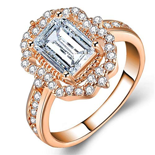 ✔ Hypothesis_X ☎ Wedding Engagement Rings Round Rose Gold Ring Four-Prong Wedding Rings Eternity Ring