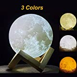 "3D Printing Moon Light – 5.9"" Rechargeable Lunar Surface Pattern Moon Lamp with USB Charging and 3 Colors Changing, Moon Night Light for Kids Birthday Gifts and Friends Christmas Gift"