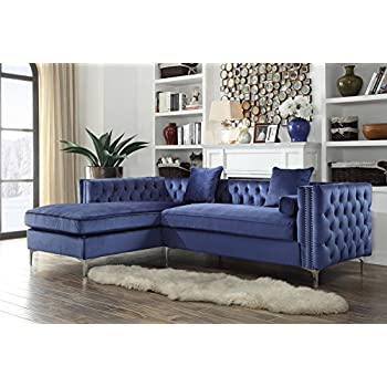 Iconic Home Da Vinci Tufted Silver Trim Navy Blue Velvet Left Facing Sectional Sofa with Silver Tone Metal Y-Legs