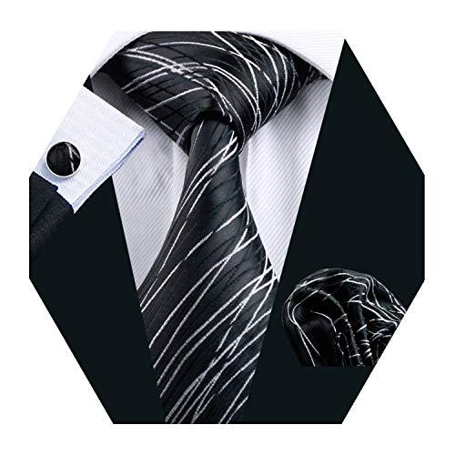 YOHOWA Black White Silk Tie Set for Men Necktie Pocket Square Cufflinks