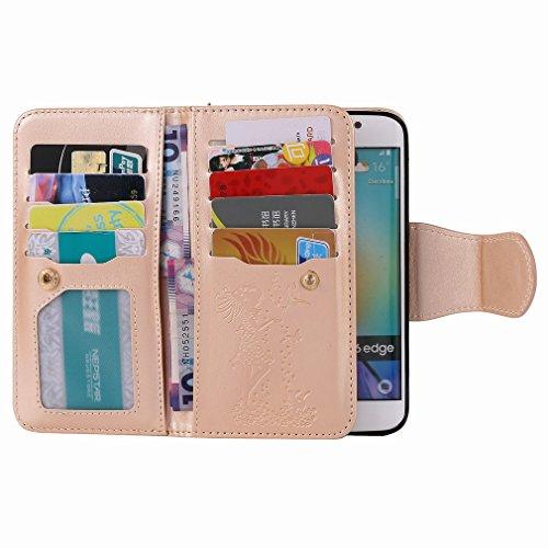 Yiizy Samsung Galaxy S6 Edge G9250 Funda, Chica Repujado Diseño Solapa Flip Billetera Carcasa Tapa Estuches Premium PU Cuero Cover Cáscara Bumper Protector Slim Piel Shell Case Stand Ranura para Tarje