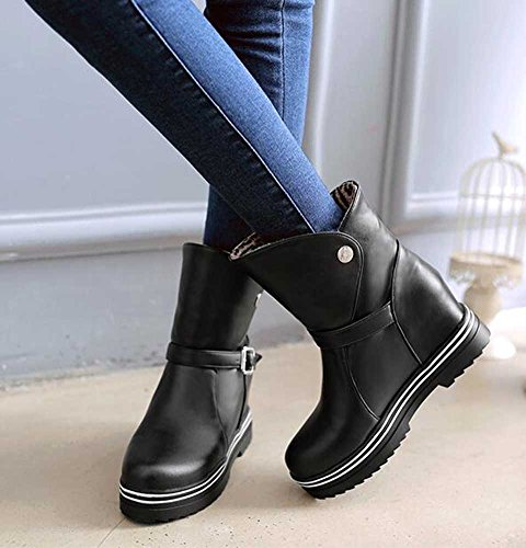 Womens Heighten Buckle Stylish Solid High Wedge Toe With Heel On Pull CHFSO Boots Black Round 1AdwSAq