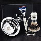 4 Pcs Men's Shaving Set In Ivory Colour ft Gillette Fusion Razor(Replaceable Head) ,Sliver Tip Badger Hair Brush, Dual Stand for Both Razor&Brush,Stainless Steel Bowl .New.Perfect Gift Kit for Him