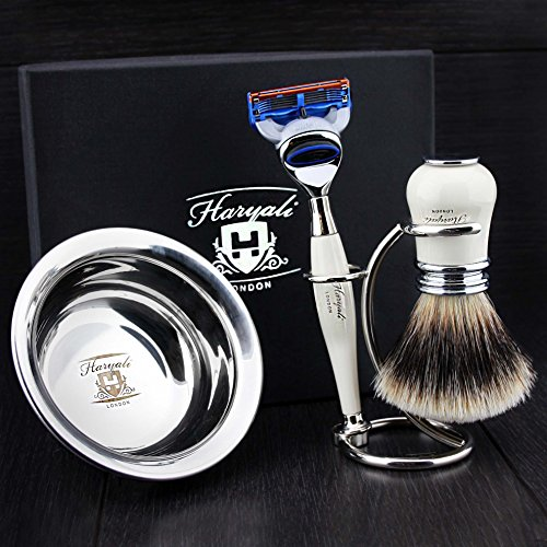 4 Pcs Men's Shaving Set In Ivory Colour ft Gillette Fusion Razor(Replaceable Head),Sliver Tip Badger Hair Brush, Dual Stand for Both Razor&Brush,Stainless Steel Bowl .New.Perfect Gift Kit for Him