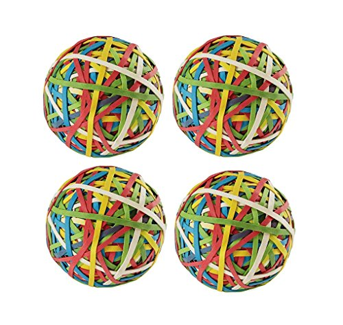 Set of 4 Balls - Rubber Band Ball , 240 Bands Per Ball, Assorted Colors (Rubber Bands Ball)