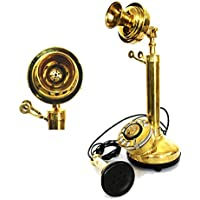 Shiny Brass Rotary Telephone Candle Stick Table Decorative Gift Item Telephone