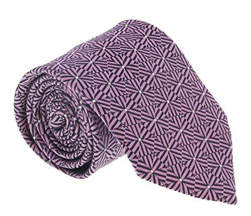 (Ermenegildo Zegna Pink-Navy Hexagon Stripe Tie for mens )