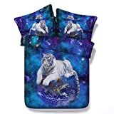KTLRR 3D Animal Tiger Duvet Cover Set,Galaxy Tiger Universe Stars Outer Space Printed Bedding Printed Bedding,Decor 4 Pieces Bedding Set with Pillow Shams (Universe Tiger, Twin)