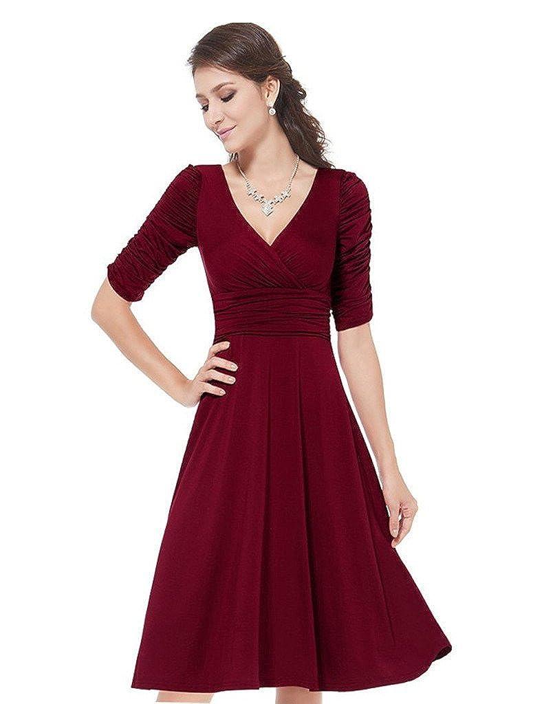 Minetom Damen Elegant Sommerkleid Kurzärmel V-Ausschnitt Business Faltenrock Rockabilly Cocktailkleid