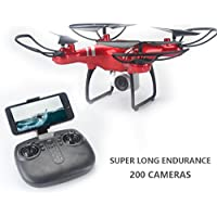 Jujuism 4CH 2.4G Remote Control Quadcopter 720P HD Camera Live Video 120¡ã Wide-angle 4-Axis Gyro Systrm Headless Drone RTF One Key Return Function Red