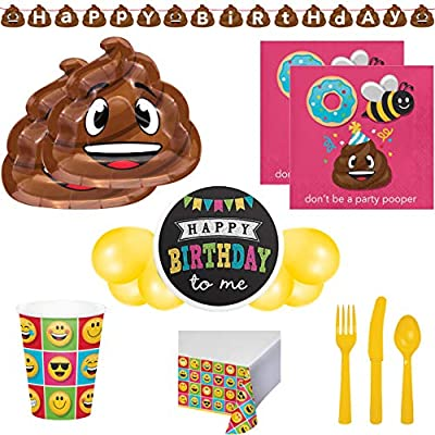 Poop Emoji Mega Birthday Party Supplies Pack and Tableware Decorations for 16 Includes Plates Cutlery Napkins Balloons and a Banner Cups Table Cover Border
