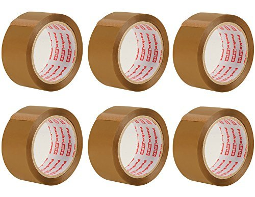 Box Packing Tape (Packatape — 6 Rolls 1.88 Inches x 72.2 Yards Brown Packaging Tape for Parcels and Boxes. This 6 roll pack of Heavy Duty Brown Packing Tape Provides a Strong, Secure and Sticky Seal for your Boxes)