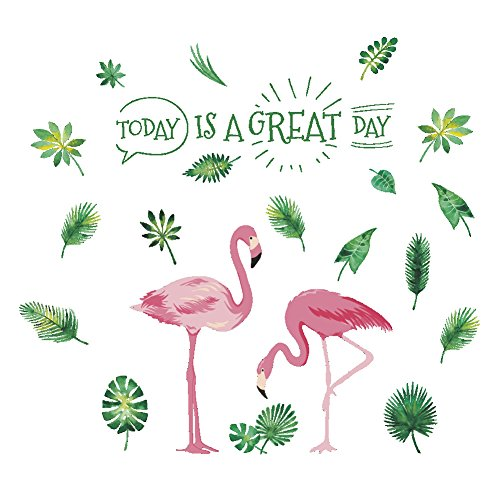 AWAKINK Pink Flamingos Green Plants Leaves Pastoral Style Wall Stickers Wall Decal Vinyl Removable Art Wall Decals for Bedroom Living Room Nursery Room Children's Bedroom