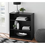 Easy to Assemble, Contemporary Style, Mainstays 3-Shelf Wood Bookcase, Multiple Colors, Black