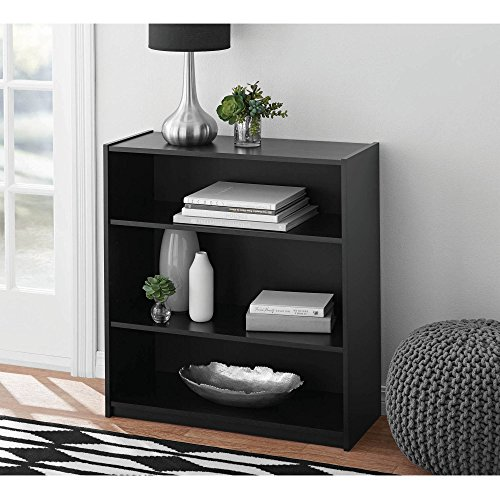Easy to Assemble, Contemporary Style, Mainstays 3-Shelf Wood Bookcase, Multiple Colors, Black (Mainstays 3 Shelf Bookcase)