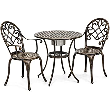 Best Choice Products Cast Aluminum Outdoor Patio Bistro Table Set for Backyard, Garden, Porch, Deck with Attached Ice Bucket, 2 Chairs, Copper