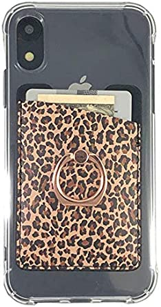 Leopard Ac.y.c Phone Card Holder with Ring Stand-Ultra Thin PU Leather 3M Adhesive Stick-on ID Credit Card Holder Phone Wallet Sticker Case Pocket for Back of Most Smartphones