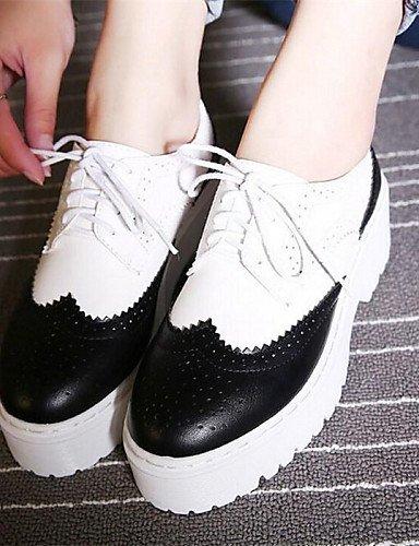 Femme us5 5 Black Bout Richelieu Cn35 Eu36 Similicuir 5 Argent Gros Talon Décontracté Arrondi Chaussures Noir Uk3 Njx 4Bqw7O5q