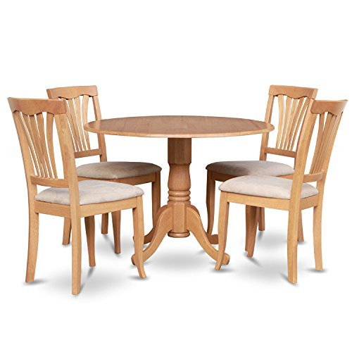5 Piece Dining Set Four Matching Microfiber Upholstered Seat Chairs Supported Table by a Single Pedestal Crafted from Solid Wood Plus FREE GIFT (Oak)
