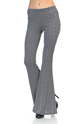 Zoozie LA Women's Bell Bottoms Tie Dye and High Waist  Yoga Pants, Infinite Chevron Black Gray, Medium ()