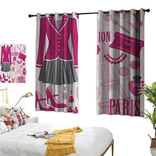 RuppertTextile Insulated Sunshade Curtain Fashion Theme in Paris with Outfits Dress Watch Purse Perfume Parisienne Landmark 55