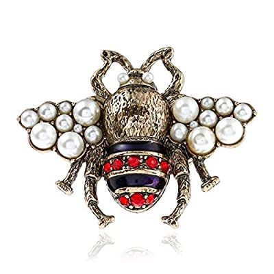 Fashion Enamel Bumblebee Bee Rings, Vintage Pearl Crystal Rhinestone Natural Insect Bee Animal Knuckle Ring Middle Finger Ring Jewelry Women Girl