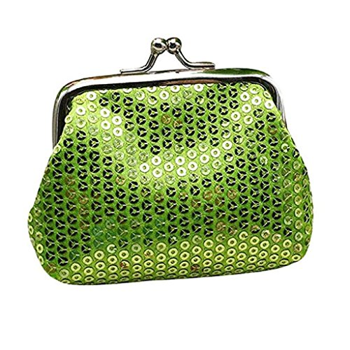 Ladies Noopvan Wallet Womens Wallet Coin Purse Small Clearance Handbag Sequin 2018 Wallet Retro Green Clutch 7dCdw
