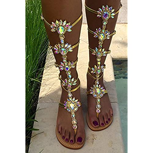 fff47aff4 80%OFF AZMODO Shining Rhinestones Thong Flat Sandals Gold Color A 90 ...