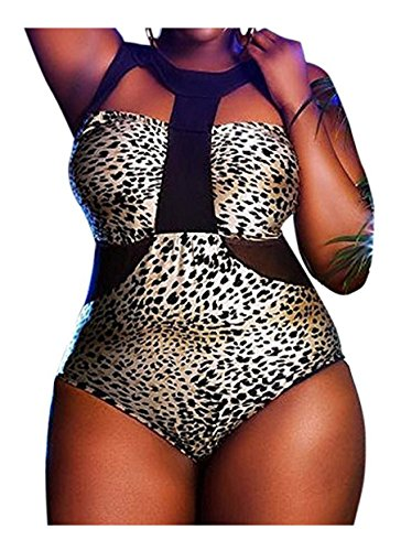 0d88197be59b0 Women s Mesh Plus Size Leopard Monokini Cutout One Piece Swimsuit