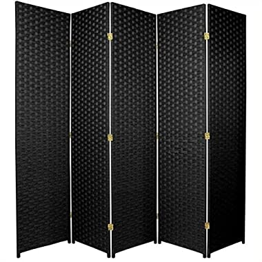 Oriental Furniture 6 ft. Tall Woven Fiber Room Divider - 5 Panel - Black