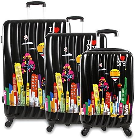 J World New York I Love New York Cityscape II 3-Piece Luggage Set, Black, One Size