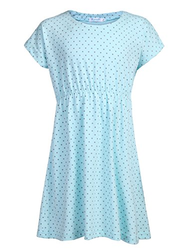 Arshiner Kids Girls Short Sleeve Swim Coverup Casual Dress, Sky-blue, 140(Age for 9-10Y) ()