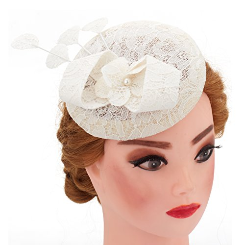 [Lace Flower Fascinator Wedding Hair Clip Headpiece Cocktail Party Headwear With Net (Ivory)] (All That Jazz Pearl Earrings)