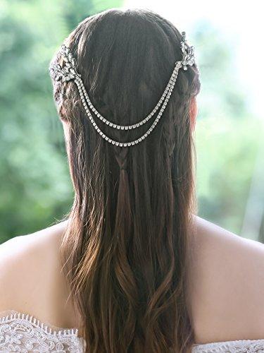 Yean Wedding Hair Combs Clip Silver Rhinestones Bridal Head Chain Accessories for Women Brides and Bridesmaids