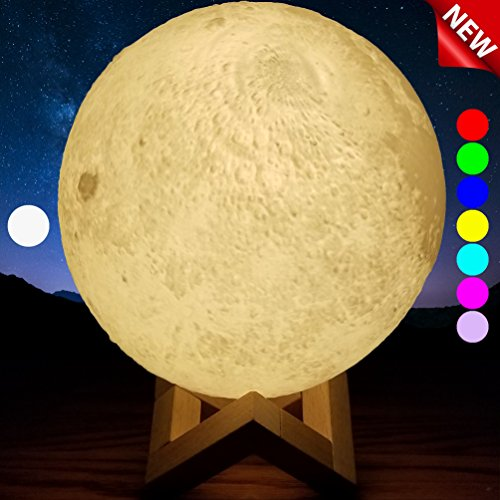 SensoryMoon 3D Printing Moon Lamp Night Light - Enchanting 7 Color Changing Up LED Lunar Moonlight Globe Ball with Wood Stand Base, USB AC Plug is 5.9 in Large for Kids Room Baby Nursery Bedroom Decor - Crisp Printing