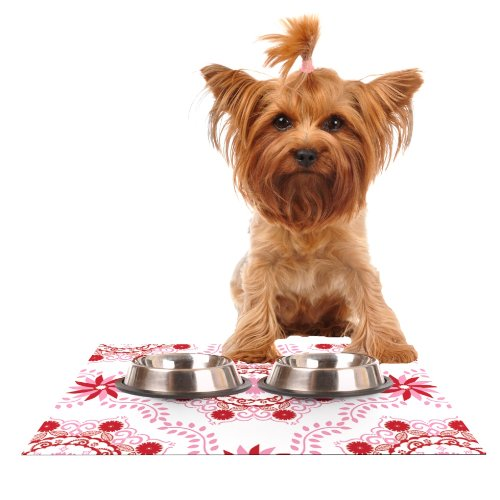 Kess InHouse Anneline Sophia Let's Dance Red  Pink Floral Feeding Mat for Pet Bowl, 24 by 15