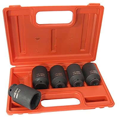 "5-Pc 1/2"" Drive Cr-Mo 6 Point Deep Impact Socket Set, 33mm, 34mm, 35mm, 36mm, 38mm, Metric"