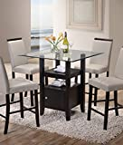 glass counter tops Kings Brand Furniture - Cappuccino Finish/Glass Top Counter Height Dining Table Storage