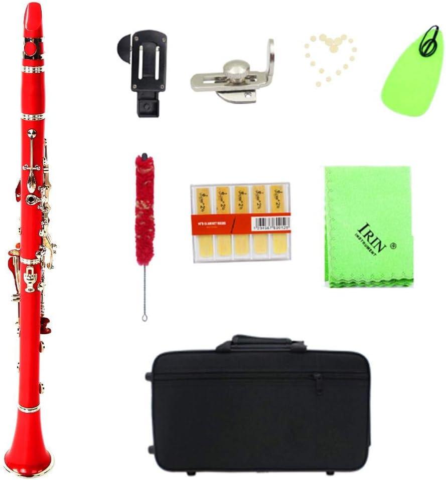 Clarinete de Tubo de baquelita BB 17 Teclas Clarinete con Juego de Botones de niquelado(Rojo; # 1): Amazon.es: Deportes y aire libre