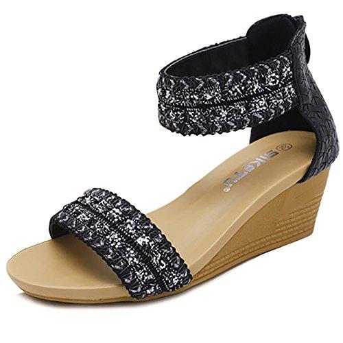 Cattle Shop Women's Wedge Sandals Rhinestone Platform Peep Toe Sandals Black