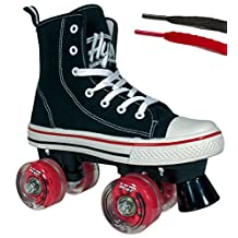 Hype Roller Skates for Girls and Boys MVP Kid's Unisex Quad Roller Skates with High Top Shoe Style for Indoor/Outdoor
